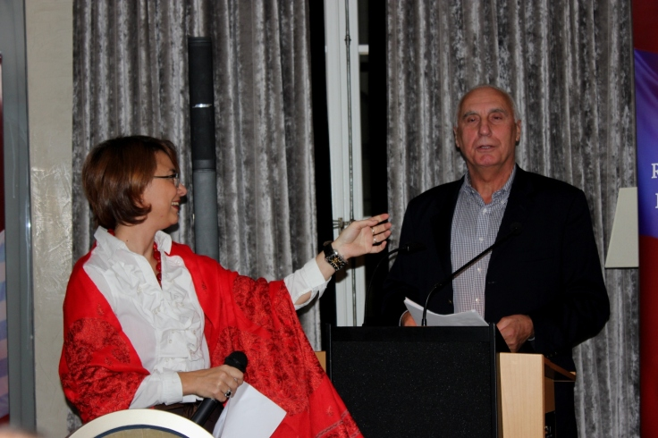 Georges Lazu during his speech and Dana Moldoveanu the event's host