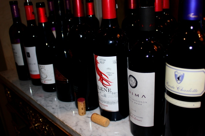 Some 8 varieties of red wine produced in Romania were tasted on the night