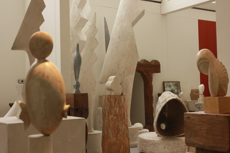 Works by Brancusi displayed in his workshop in Paris