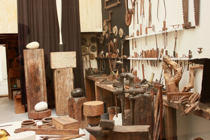 Tools used by Brancusi on display in his workshop.