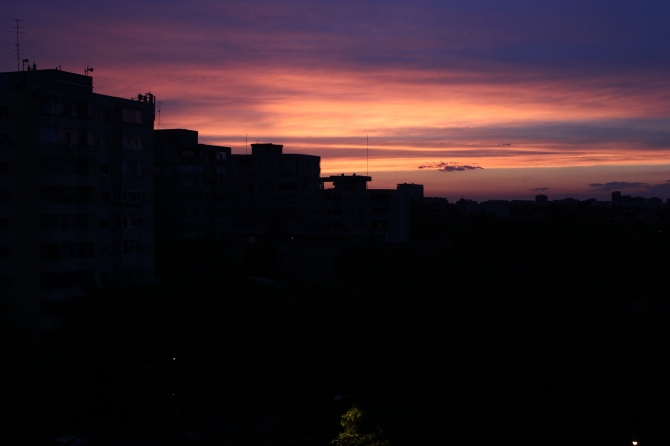 Gorgeous summer sunset in Bucharest