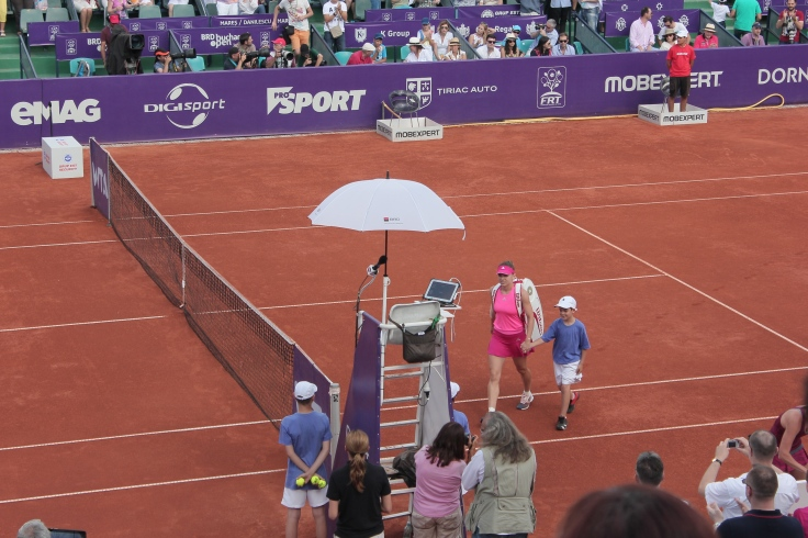 Simona Halep playing the finals at BRD Bucharest Open