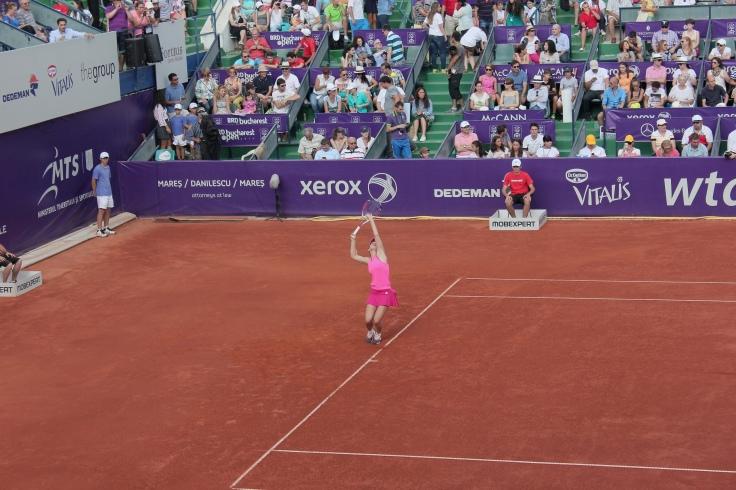 Simona Halepm serving at BRD Bucharest Open Finals