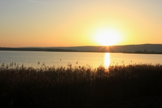 Sunset by the Madine Lake in France