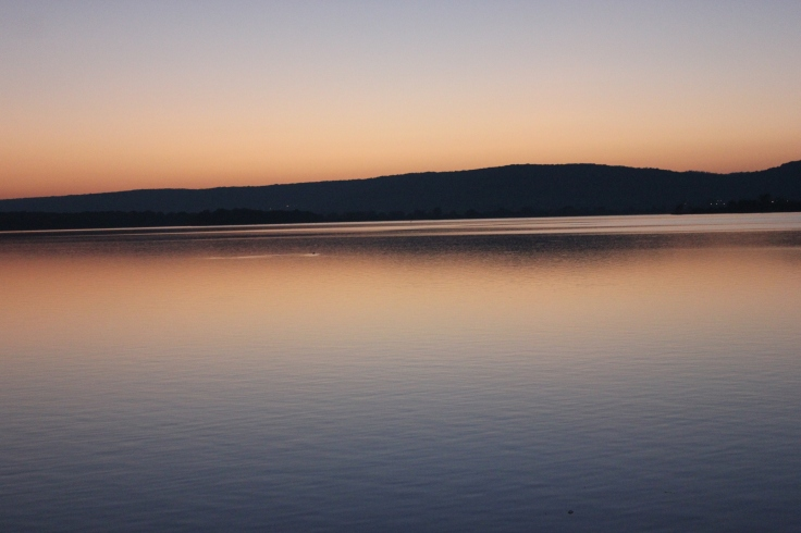 Sunset on the 1st of November 2014 on the Madine Lake in France