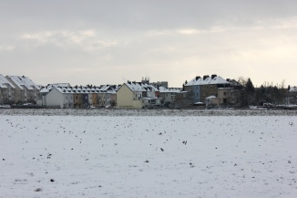 Winter in Howald, view from the Kaltreis Park in Bonnevoie, Luxembourg