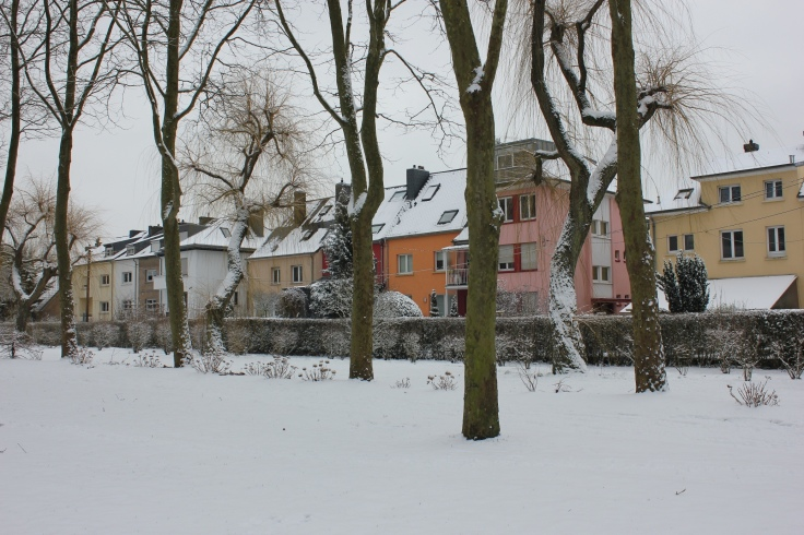Beautiful snowy park in Howald, Luxembourg