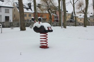 Snowy Playground in Howald, in southern Luxembourg